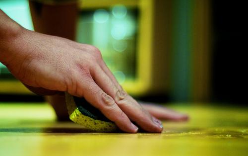 clean natural stone floor